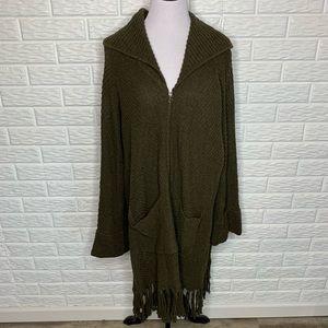 Soft Surroundings Green Zip Front Cardigan Sweater